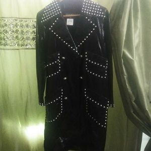 Chanel calf skin long leather jacket